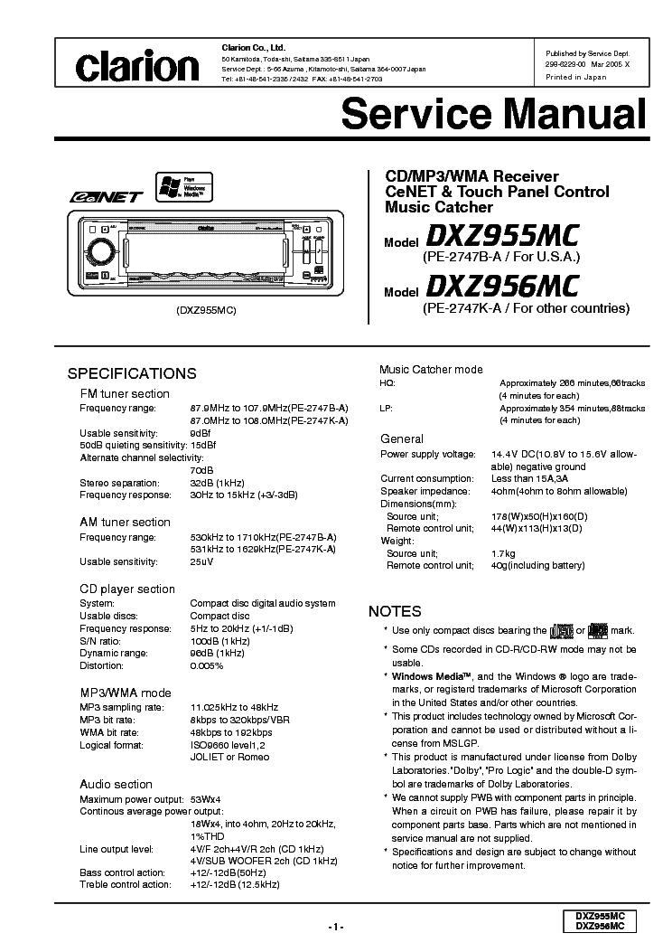 Clarion Arx9170r Sch Service Manual Download  Schematics
