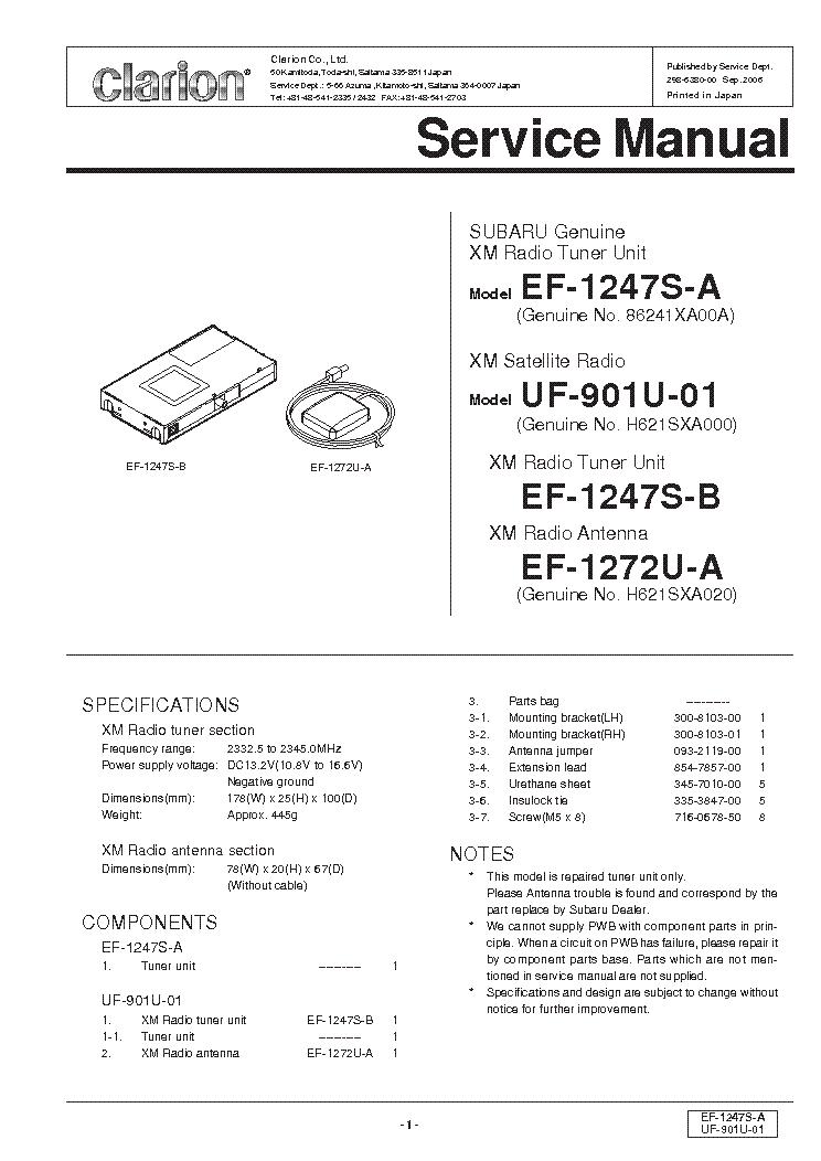 CLARION EF1247S UF901U01