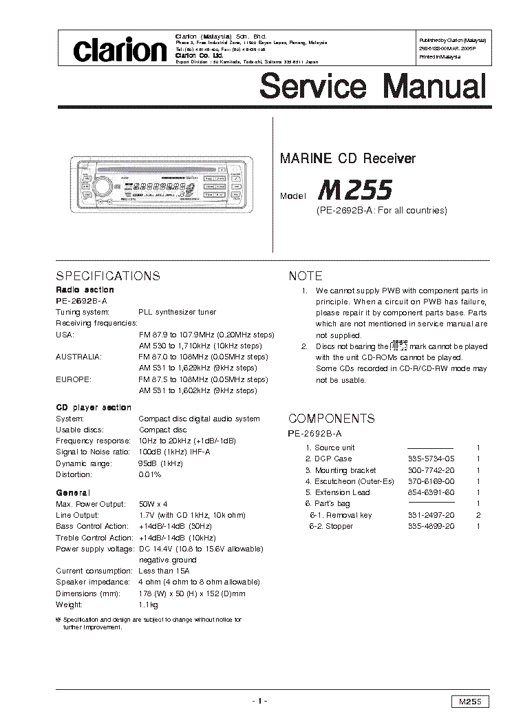 clarion_m255.pdf_1 clarion arx6370 car radio wiring diagram clarion automotive clarion dxz385usb wiring diagram at arjmand.co
