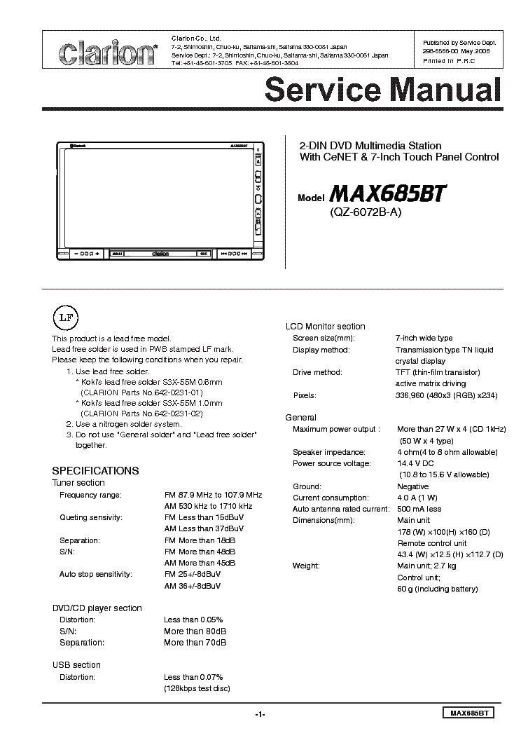 Clarion Max685bt Service Manual Download  Schematics