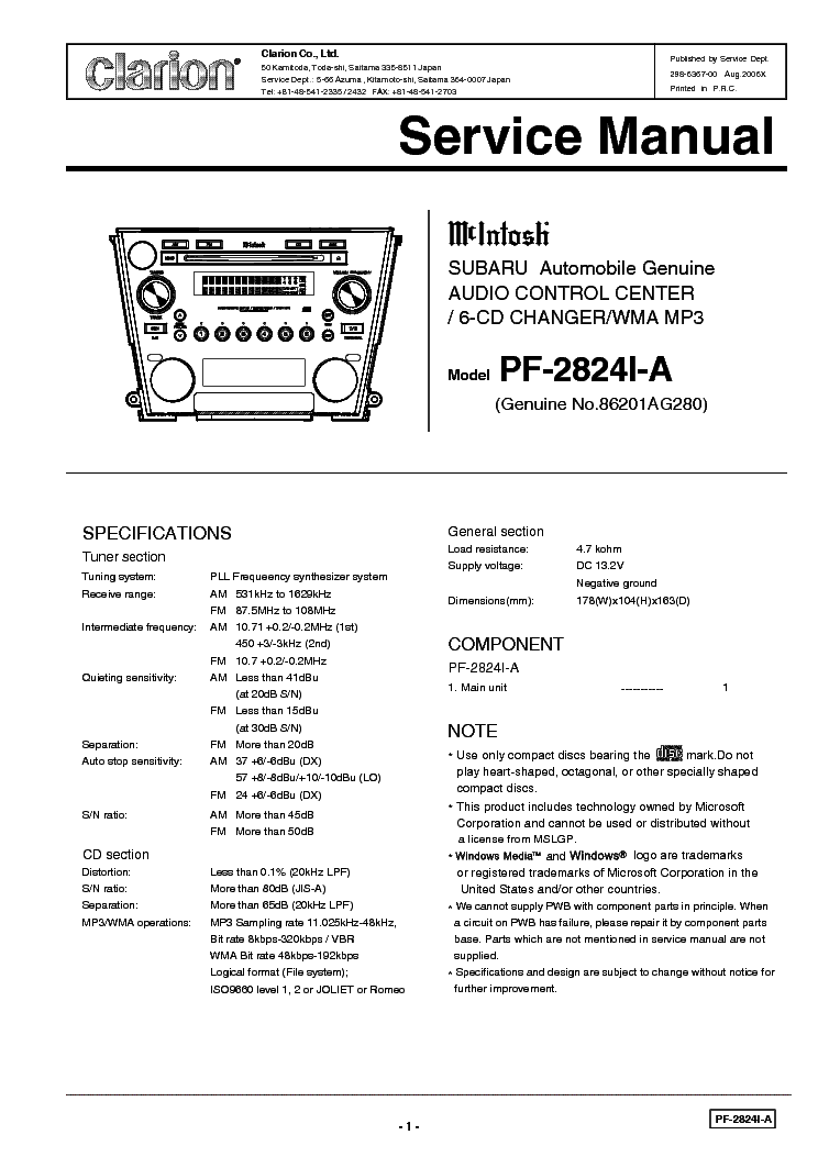 Clarion Pf2824ia Service Manual Download  Schematics