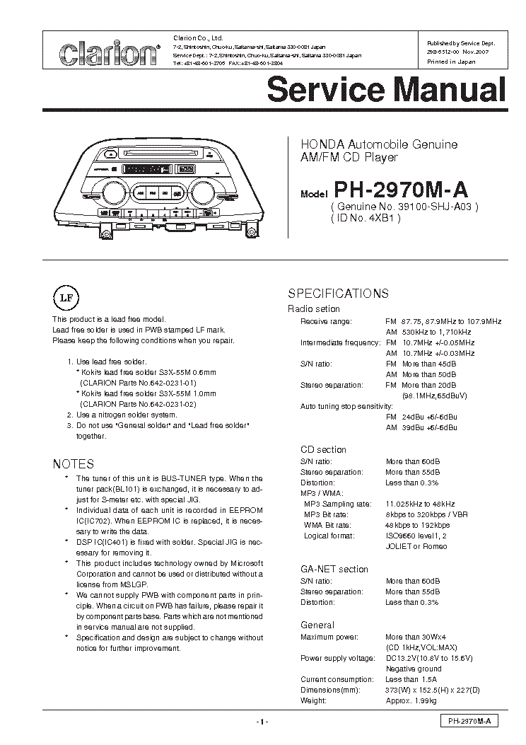 clarion_ph2970ma.pdf_1 clarion db345mp db346mp sm service manual download, schematics db345mp clarion wiring diagram at soozxer.org
