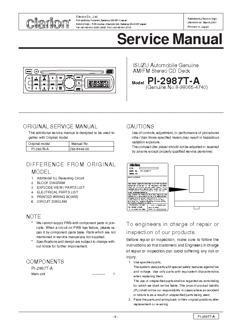 clarion_pi2987ta.pdf_1 clarion apx200 2 service manual download, schematics, eeprom  at reclaimingppi.co