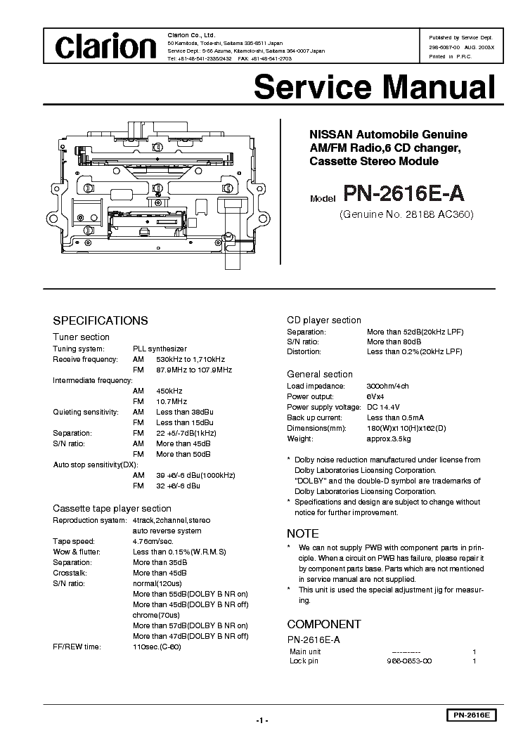 clarion pn 2616e service manual download schematics eeprom repair rh elektrotanya com clarion nx501 service manual clarion apx480m service manual