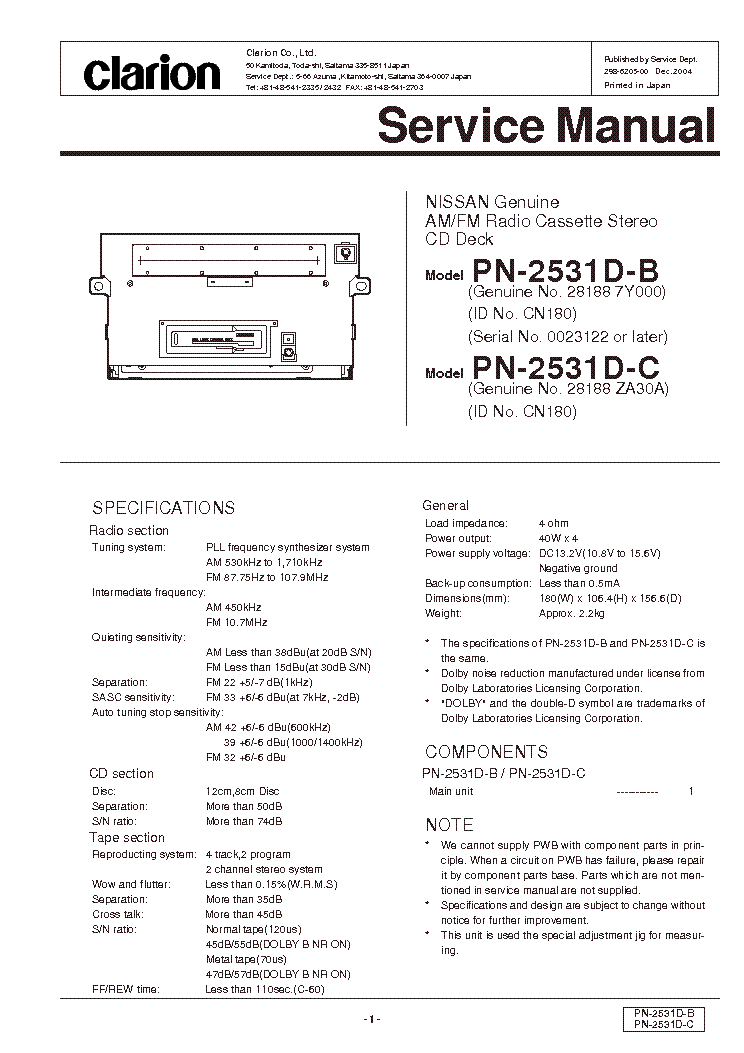 service manual clarion pn2531d car stereo