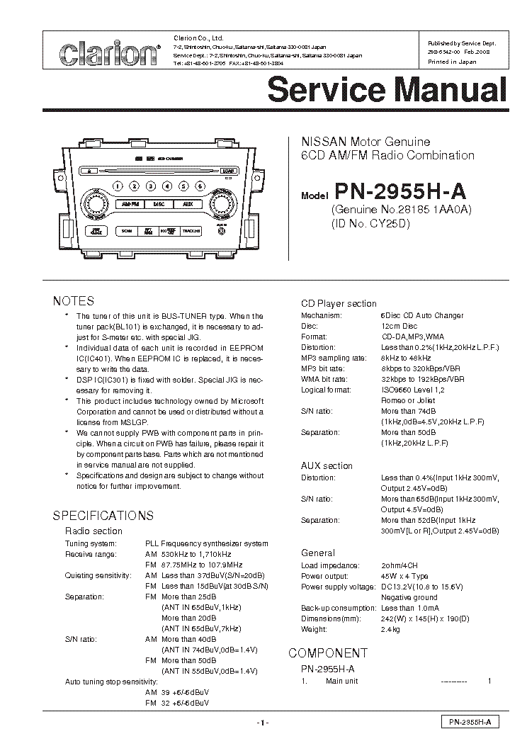 Clarion Np401 Service Manual Download  Schematics  Eeprom