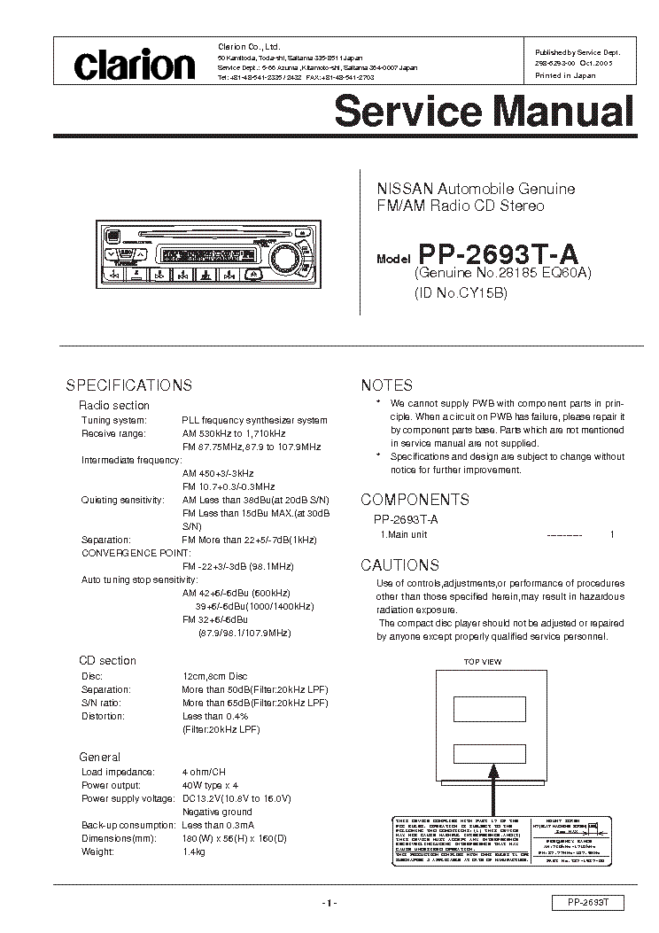 clarion_pp2693ta.pdf_1 clarion cz309 a service manual download, schematics, eeprom clarion cz309 wiring diagram at bayanpartner.co