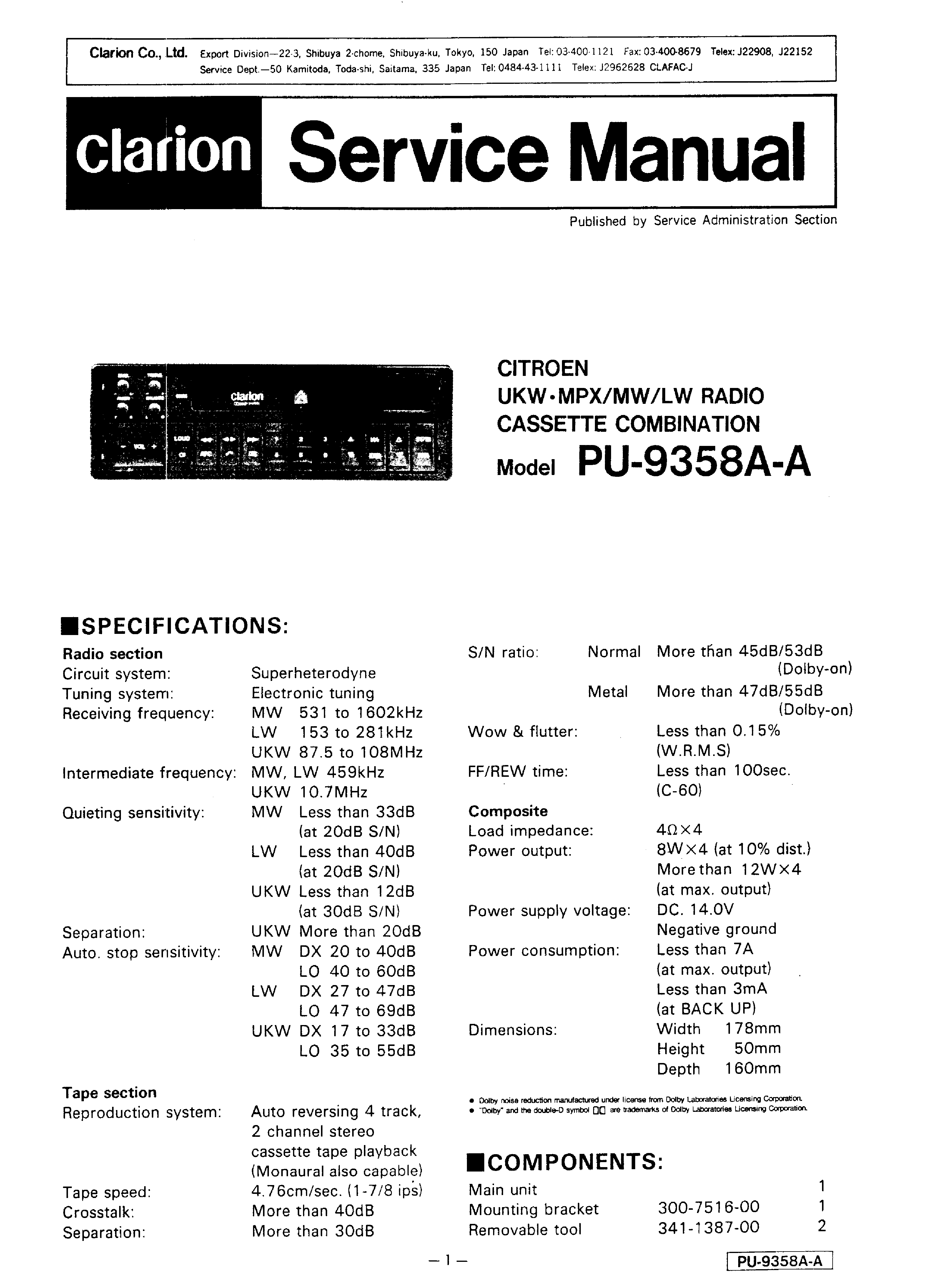 citroen xm forum view topic clarion pu 9358 grey service manual lifier repair