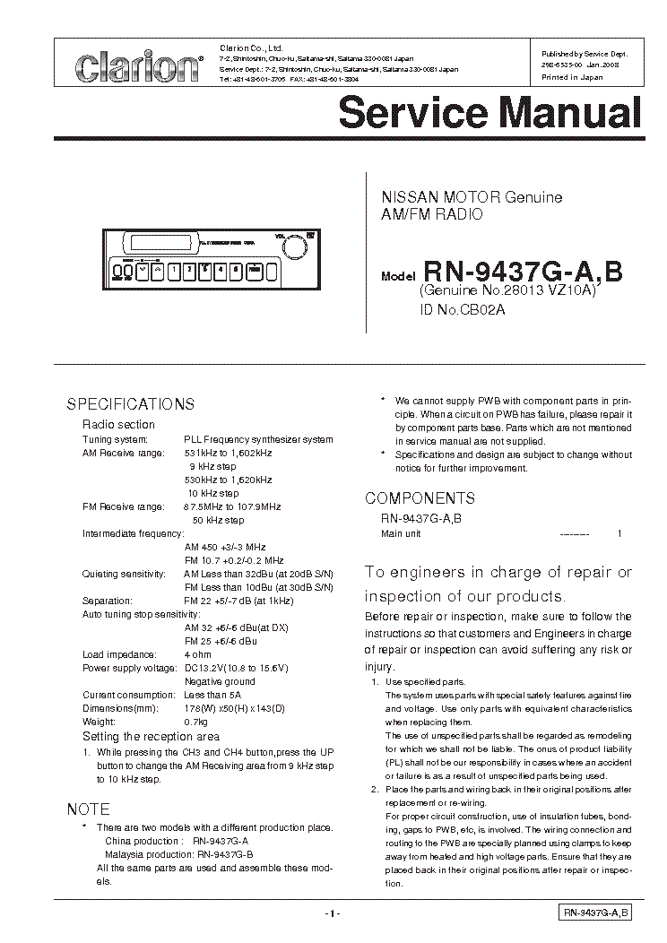clarion_rn9437ga_b.pdf_1 clarion drb5475 service manual download, schematics, eeprom  at n-0.co