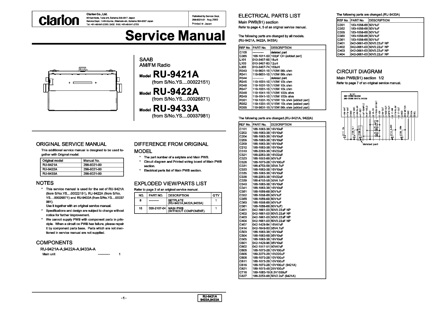 Clarion Ru9421a 9422a 9433a Service Manual Download Schematics Wiring Diagram Free Schematic 1st Page