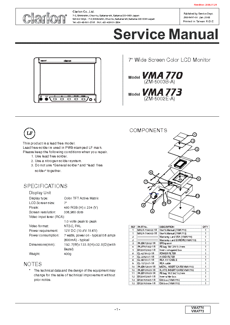 Clarion vrx vd wiring diagram manual