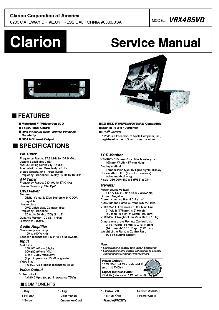clarion vrx485vd service manual download  schematics  eeprom  repair info for electronics experts