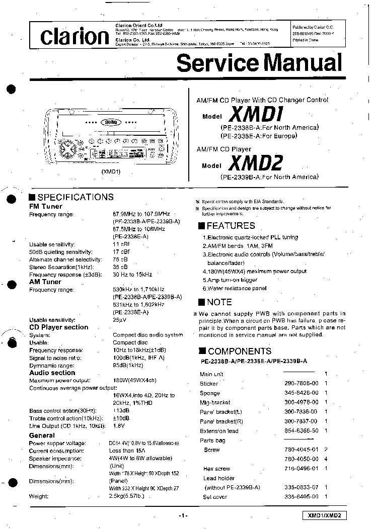 clarion xmd1 xmd2 sm service manual download, schematics, eeprom clarion cmd4 wiring harness at Clarion Xmd1 Wiring Diagram
