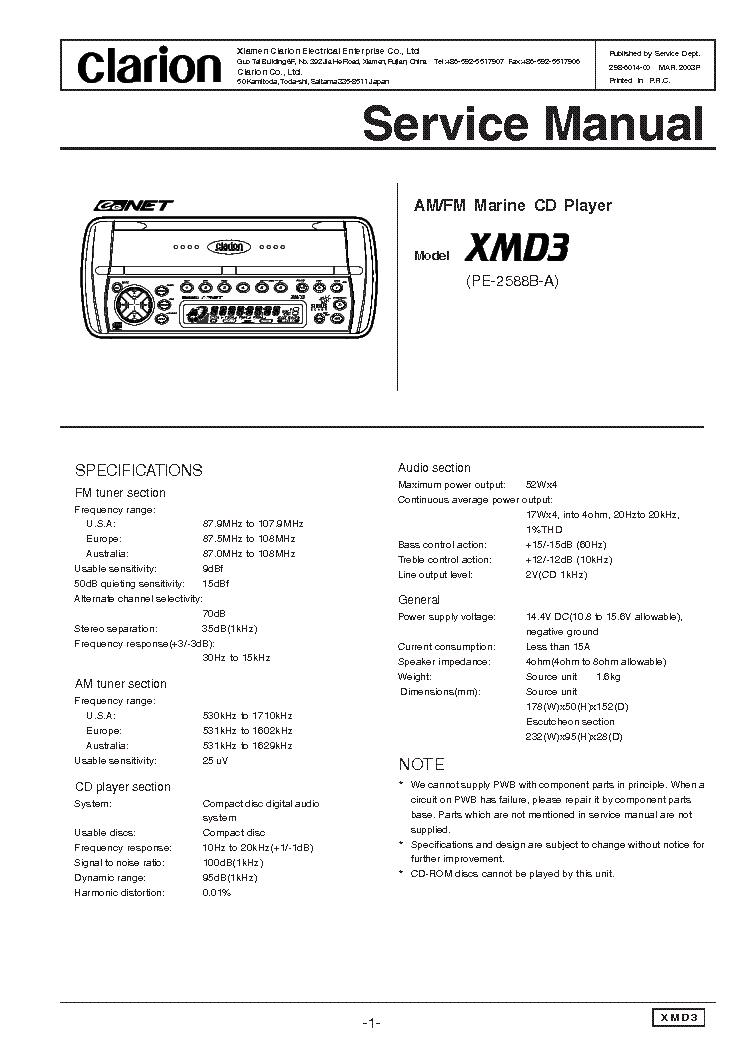 Clarion Xmd3 Wiring Diagram: CLARION XMD3 SM Service Manual download schematics eeprom ,Design