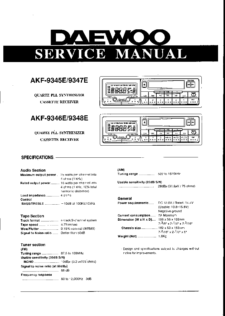 DAEWOO AKF-9345E 9346E 9347E 9348E Service Manual download ...