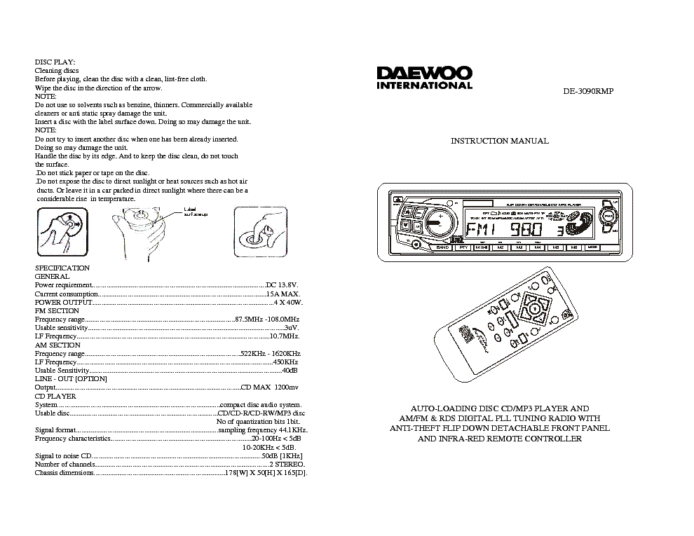 DAEWOO DE-3090RMP Service Manual download, schematics, eeprom ...