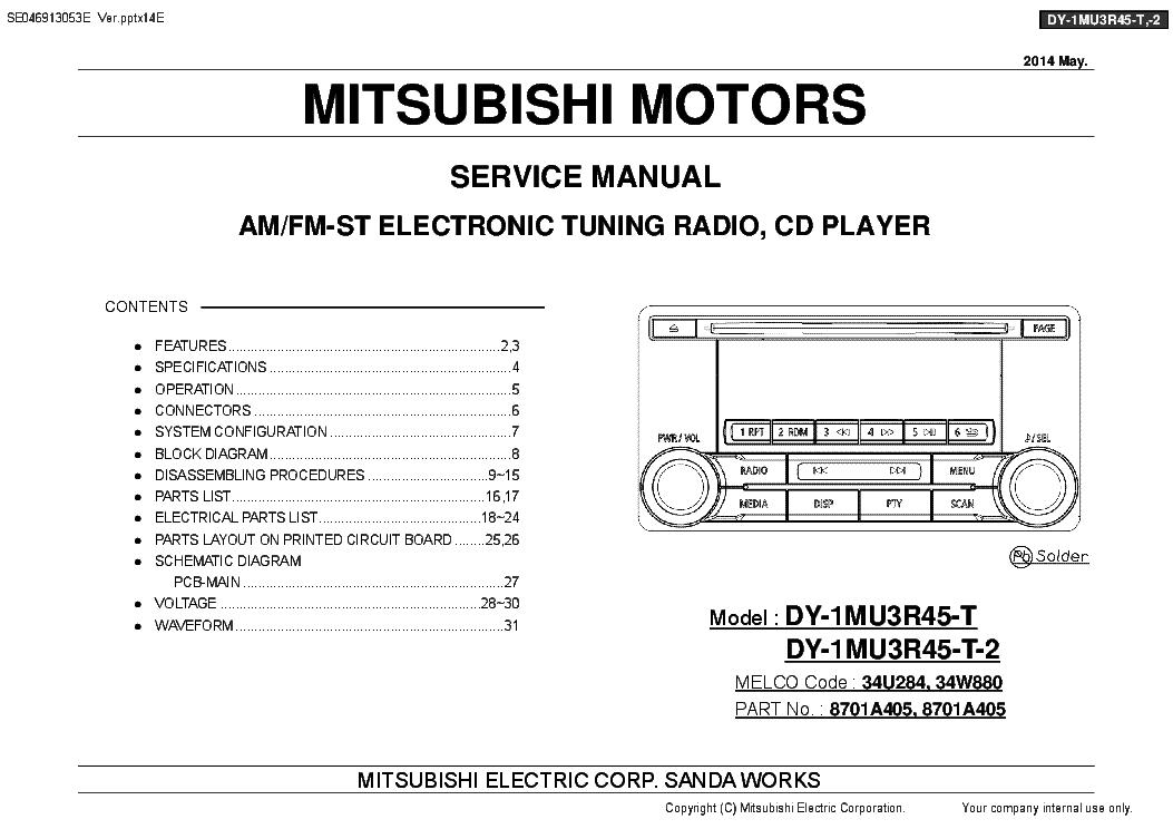 mitsubishi dy 1mu3r45 t 2 car audio service manual download rh elektrotanya com Mitsubishi Car Radio Wiring 2004 Mitsubishi Endeavor Stereo Car