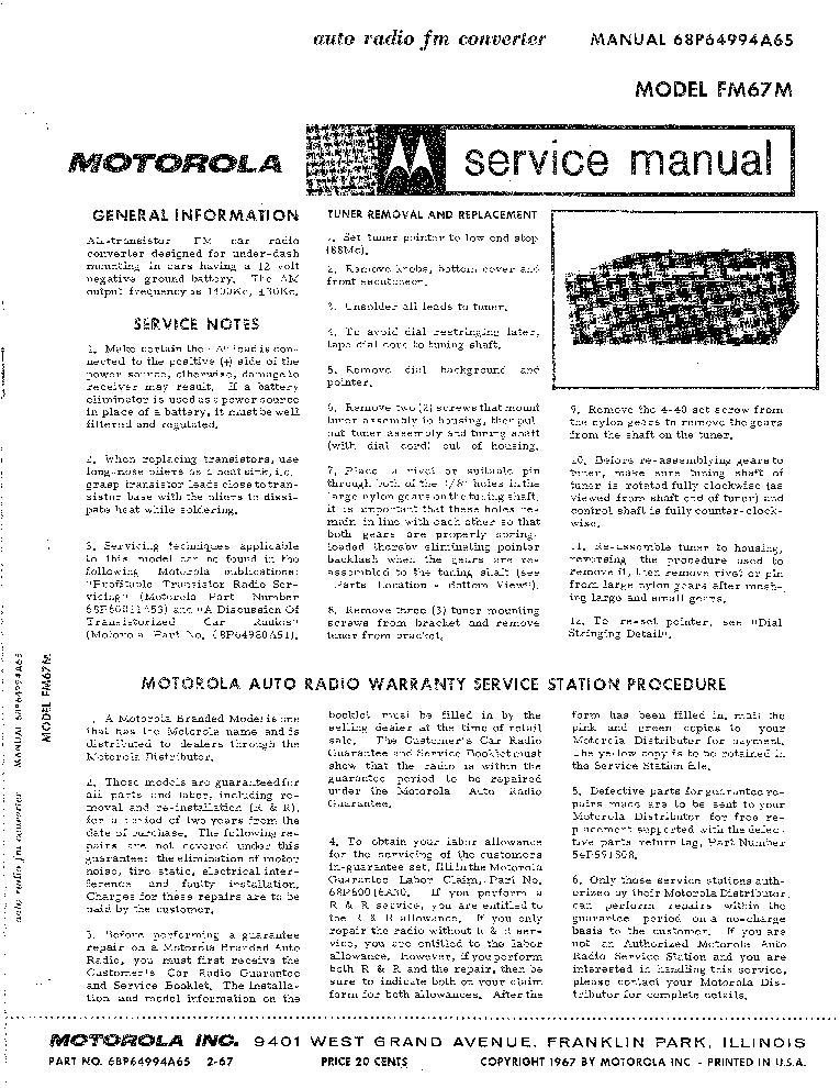 MOTOROLA FM-67-M CAR-RADIO 1967 SM Service Manual download ...