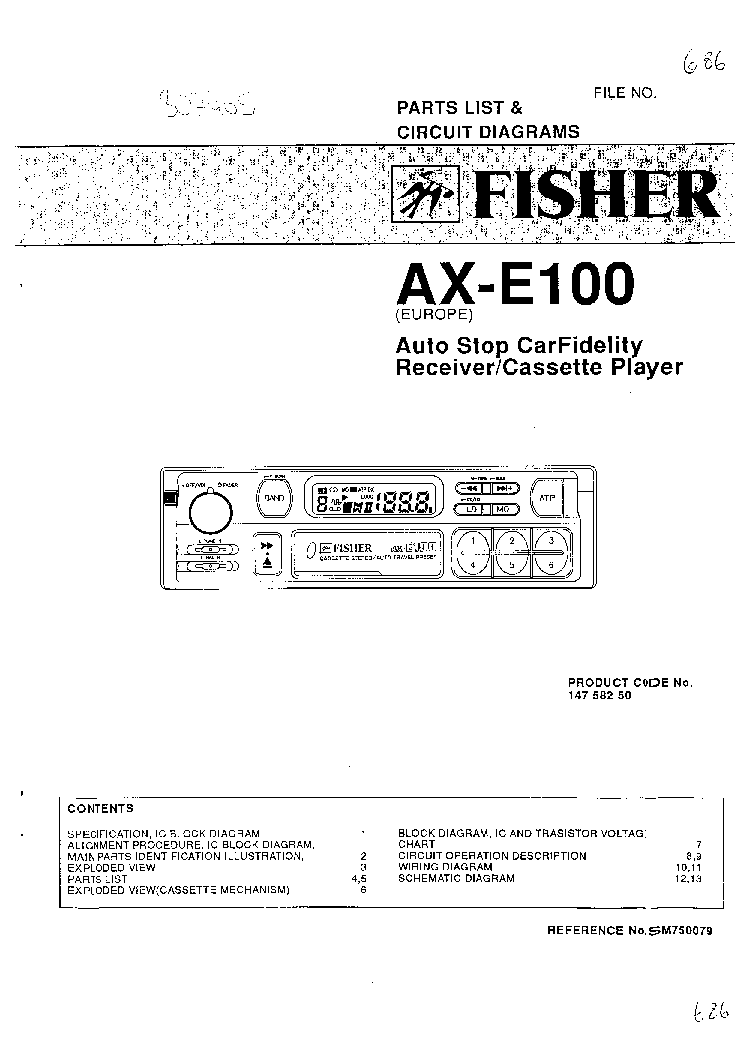 Fisher Ax E100 Parts Sch Service Manual 1st Page