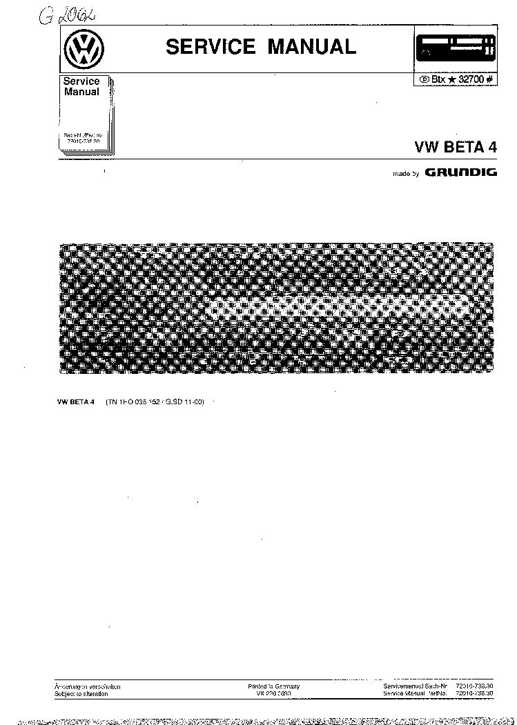 GRUNDIG VW BETA-4 SM service manual (1st page)