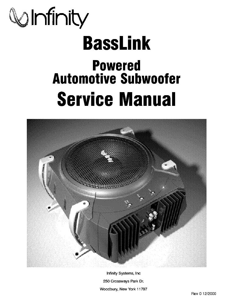 infinity basslink i service manual download schematics eeprom rh elektrotanya com infinity basslink user manual infinity basslink sm manual