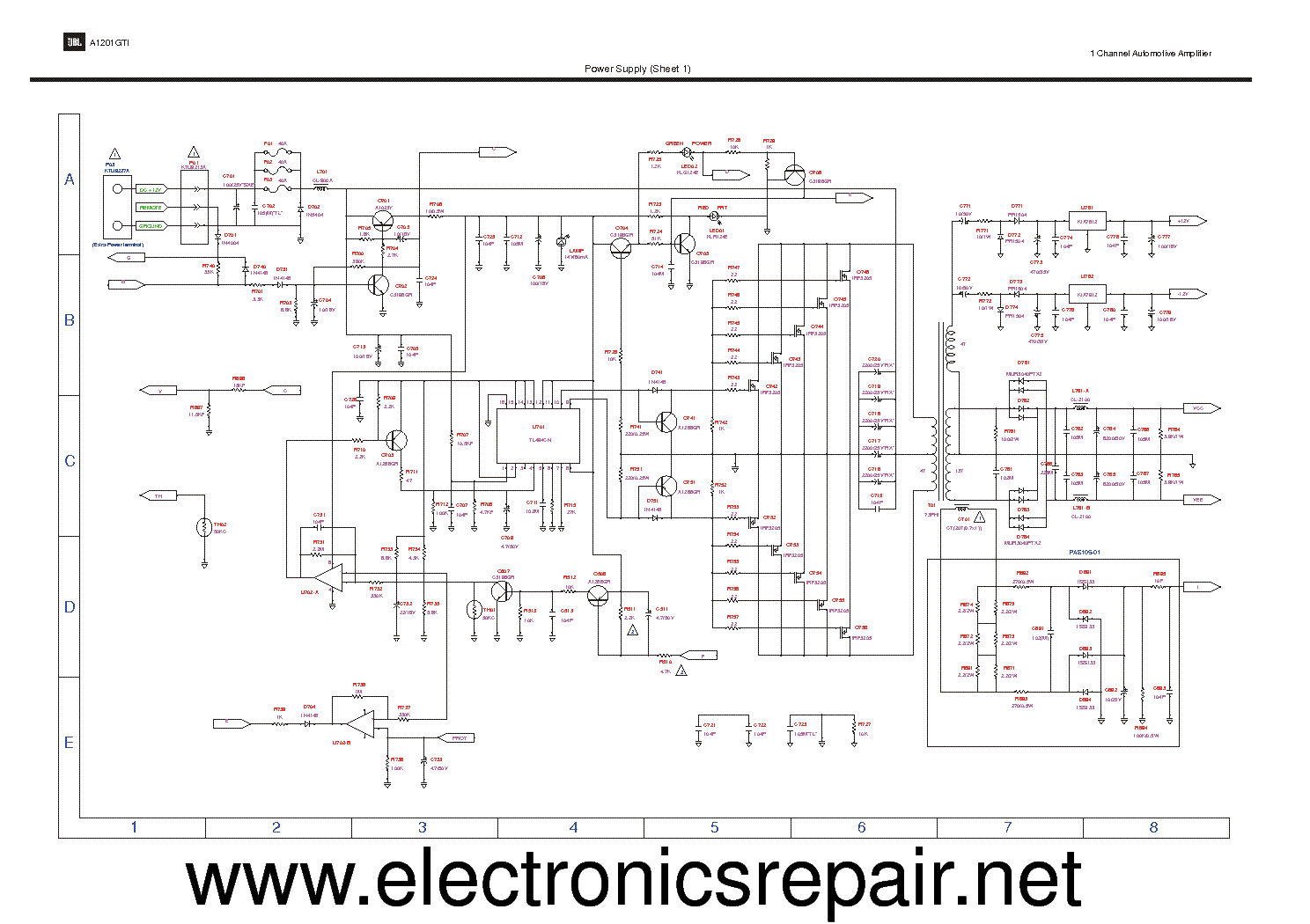 Jbl A1201gti Sch 2 Service Manual Download  Schematics