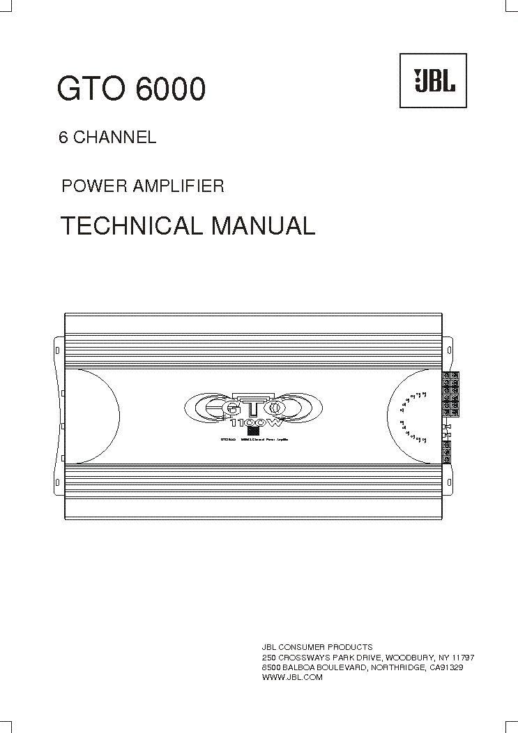 JBL GTO-6000 SM Service Manual download, schematics, eeprom ... on