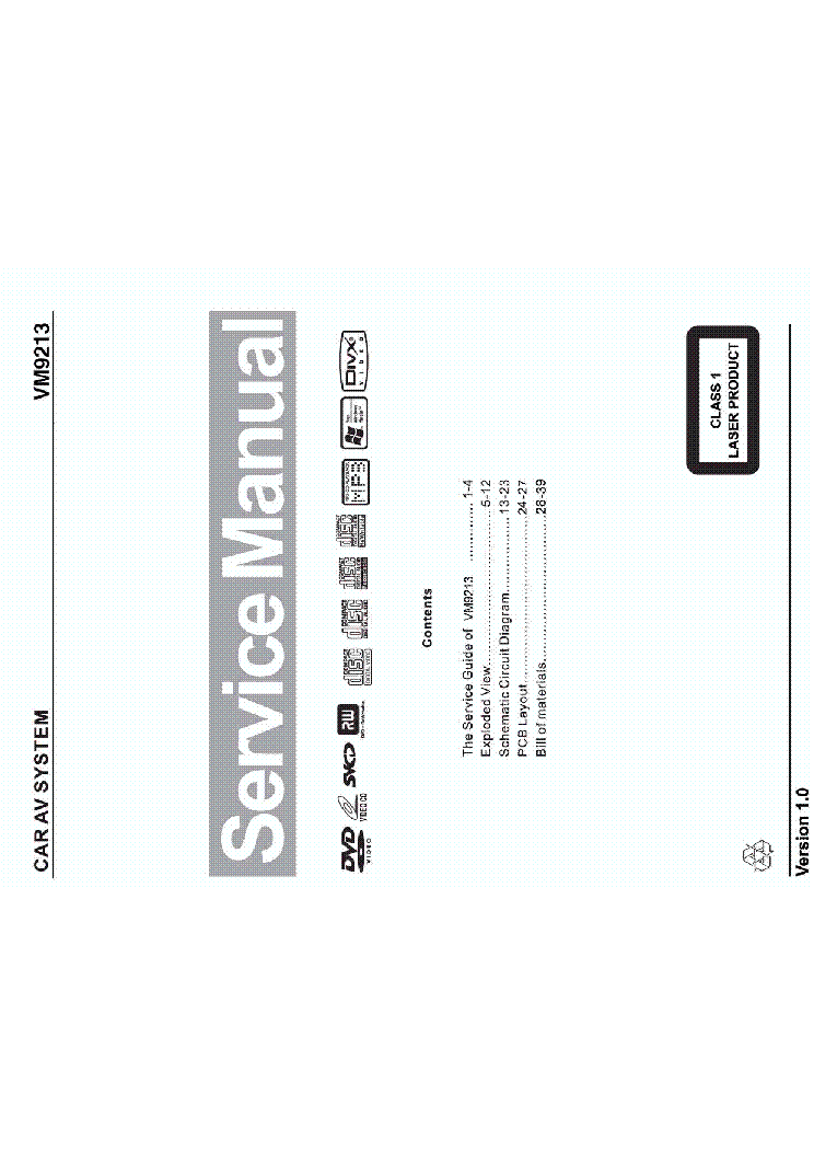 jensen vm9213 sm service manual download  schematics