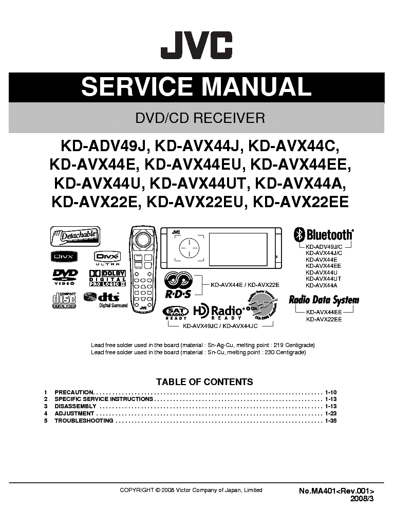 Jvc Kdadv49 Avx22 Avx44 Ma401 Sm Service Manual Download