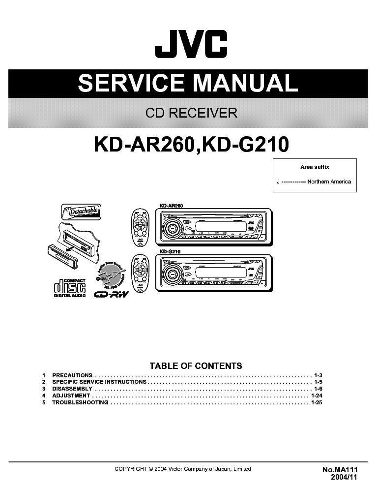jvc kd ar260 kd g210 ma111 sm service manual download schematics rh elektrotanya com Car Radio Wiring Diagram Standard Car Audio Wiring Diagram