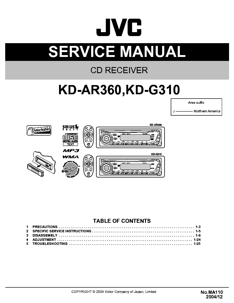 jvc kd ar360 kd g310 ma110 sm service manual download schematics rh elektrotanya com JVC Car CD Player Installation JVC Car Plug Photos