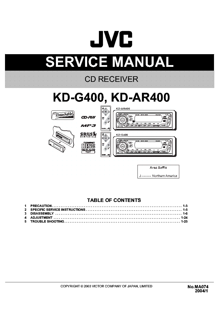 jvc kd ar400 kd g400 service manual download schematics. Black Bedroom Furniture Sets. Home Design Ideas