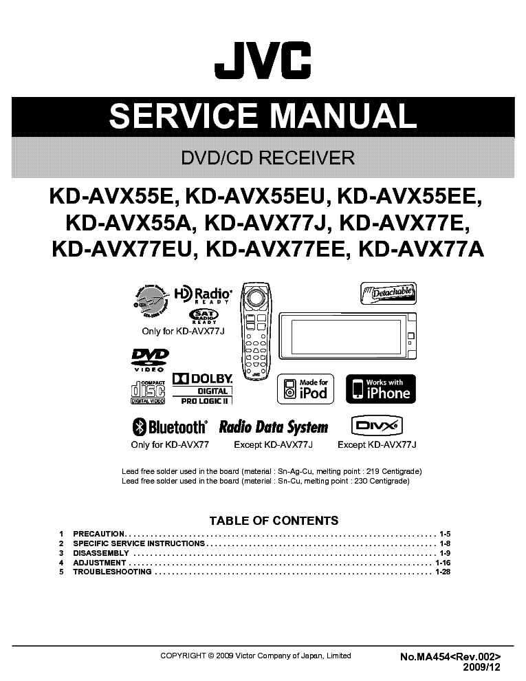 jvc kd avx55 kd avx77 ma454 service manual download schematics rh elektrotanya com service manual jvc dla-x3 service manual jvc rx-v8