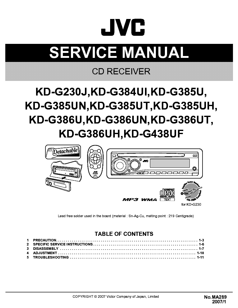JVC KD-G230 KD-G384 KD-G385 KD-G386 KD-G438-MA289- service manual (1st page)