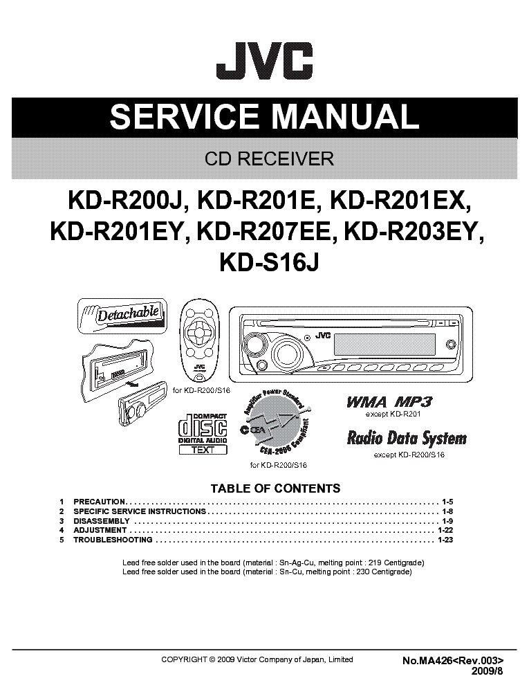jvc kd r200 r201 r203 r207 s16 service manual service manual rh elektrotanya com JVC KD S17 Specifications JVC KD R200 Time Set