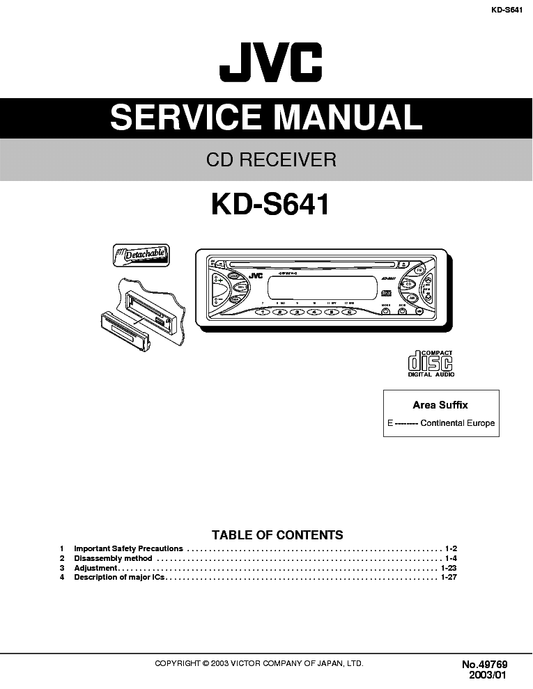 Jvc kd-s641-5 service manual by download mauritron #282 for sale.