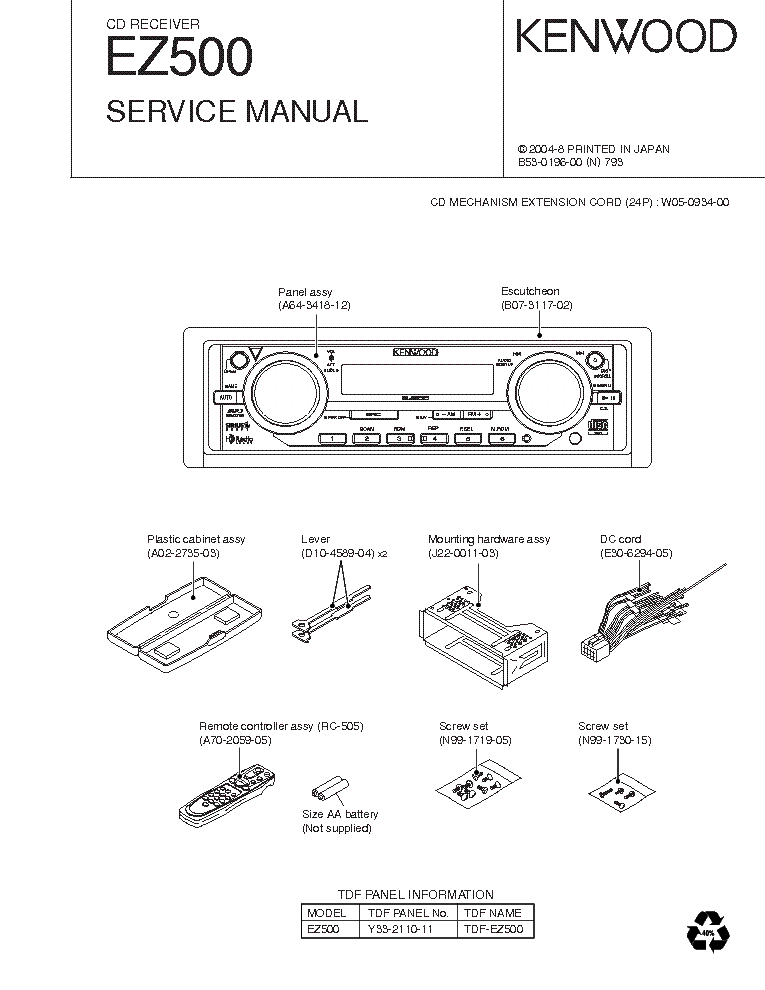 Kenwood ez 500 sm service manual download schematics eeprom kenwood ez 500 sm service manual 1st page asfbconference2016 Gallery