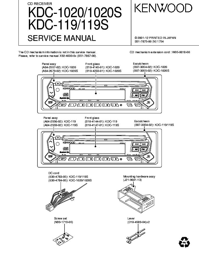 Kenwood Kdc 1020 1020s 119s Sm, Kenwood Kdc 119 Wiring Diagram