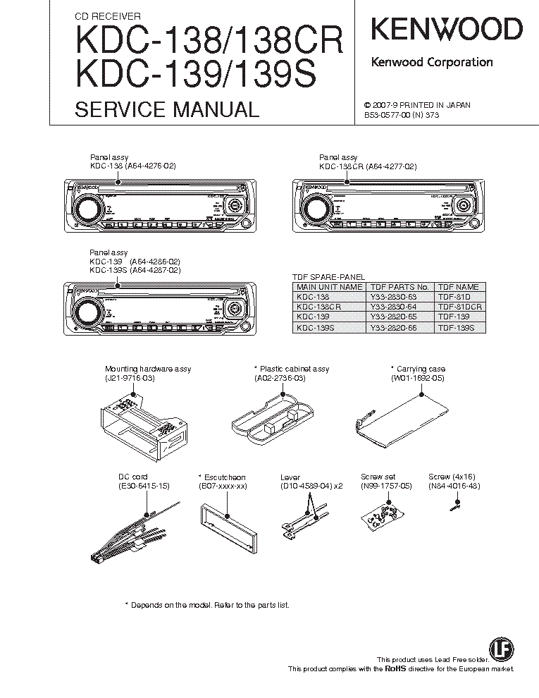 kenwood kdc 138 cr 139 s sm service manual download schematics rh elektrotanya com Kenwood KDC 138 Installation Kenwood KDC 138 Installation