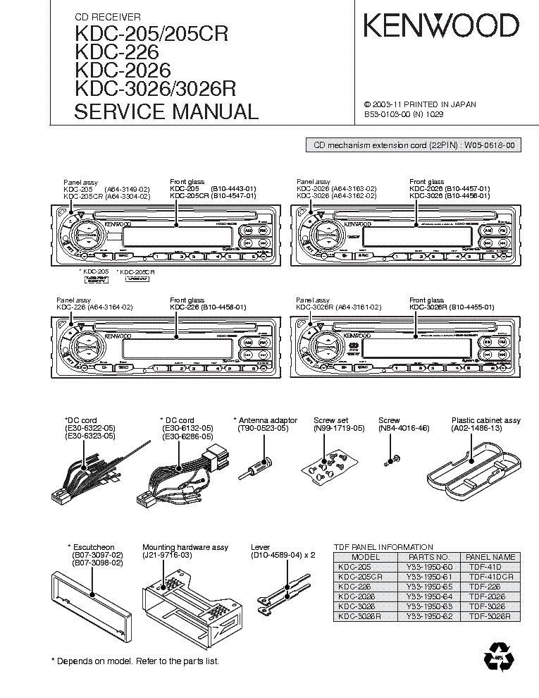 16pin kenwood kdc 248u wiring harness diagram kenwood kdc-205 kdc-205cr kdc-226 kdc-2026 kdc-3026 kdc ...