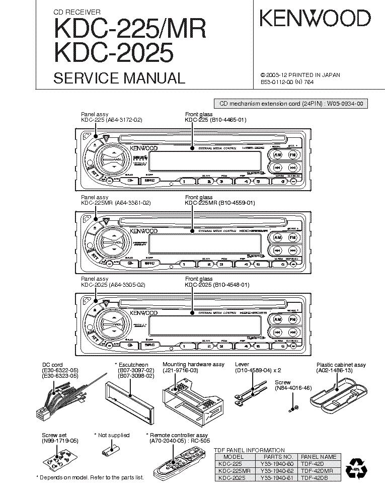 kenwood kdc 225 kdc 225mr kdc 2025 service manual free schematics eeprom repair info