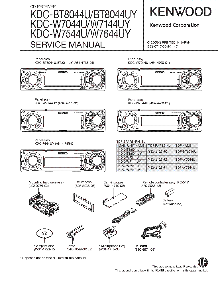 Kenwood Kdc Mp142 Wiring Diagram : Kdc s free manual architectupload