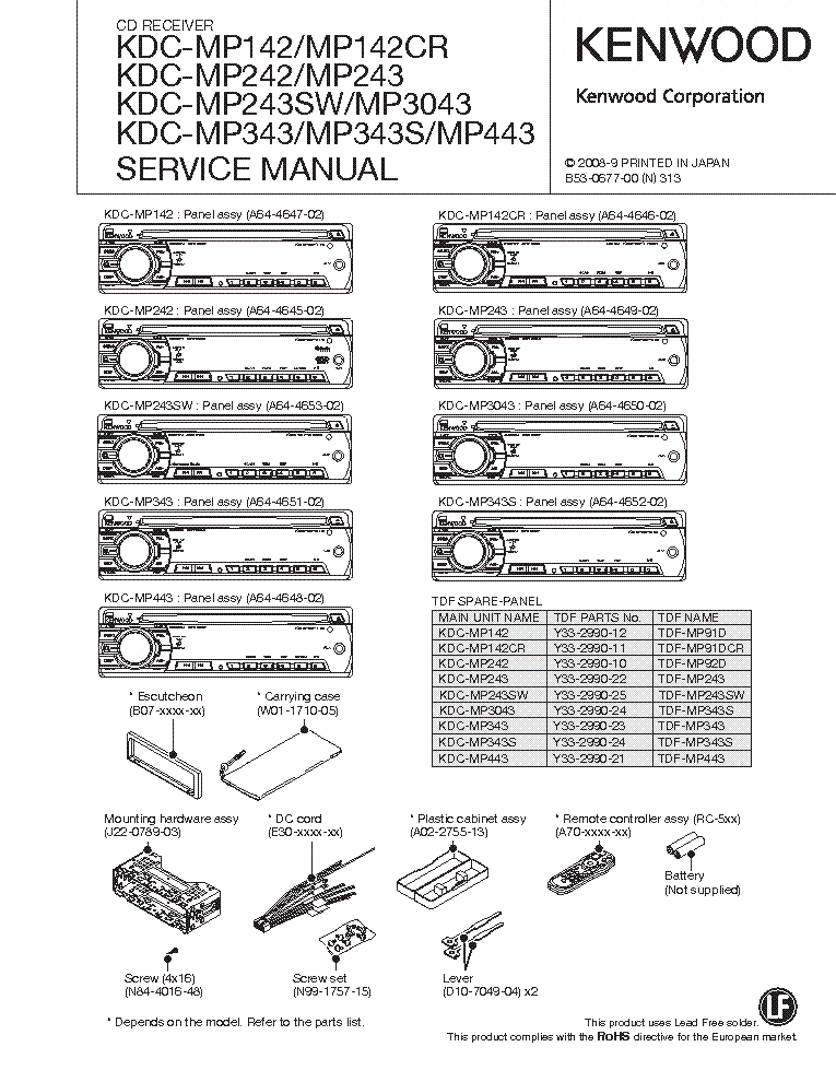 Kenwood Kdcmp142 242 243 3043 343 443 Sm Service Manual 1st Page: Kenwood Kdc Mp242 Wiring Diagram At Satuska.co