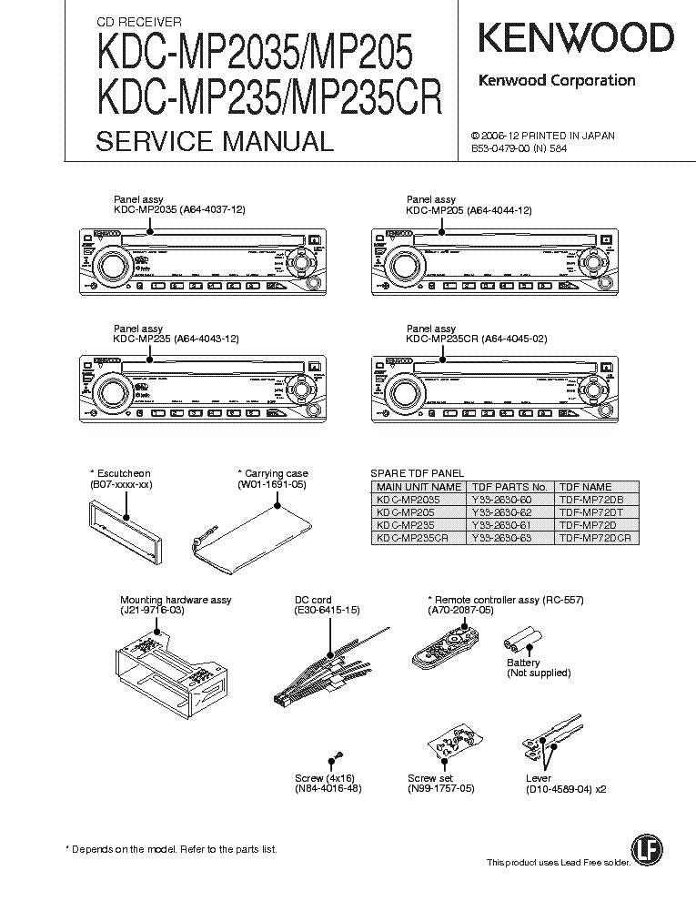 kenwood kdc mp2035 kdc mp205 kdc mp235 kdc mp235cr service manual rh elektrotanya com Kenwood KDC MP235 Aux Kenwood KDC MP205 1996 Toyota