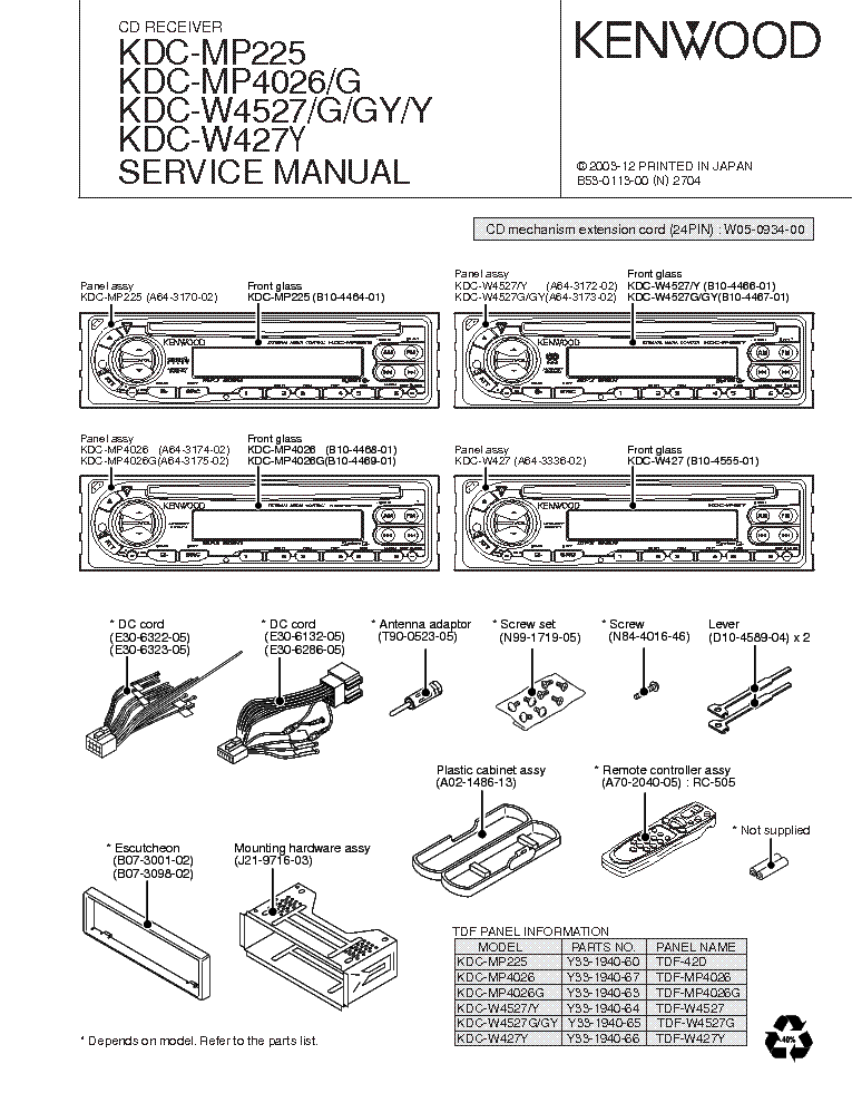 download car stereo wiring diagram kenwood model kdc bt555u