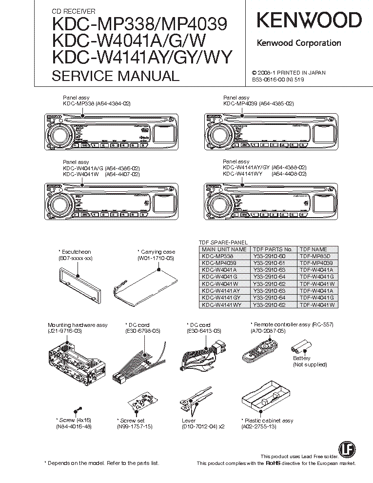 Kenwood Kdc Mp338 Wiring Diagram