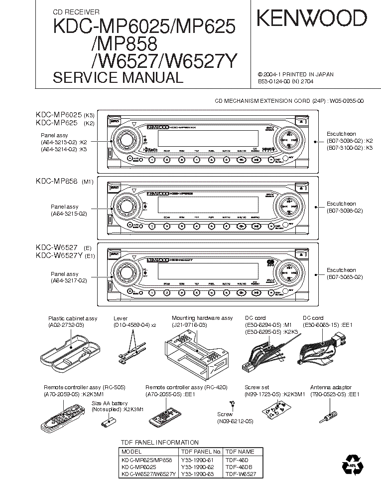 KENWOOD KDCMP6025 MP625 MP858 W6527 W6527Y SM Service Manual