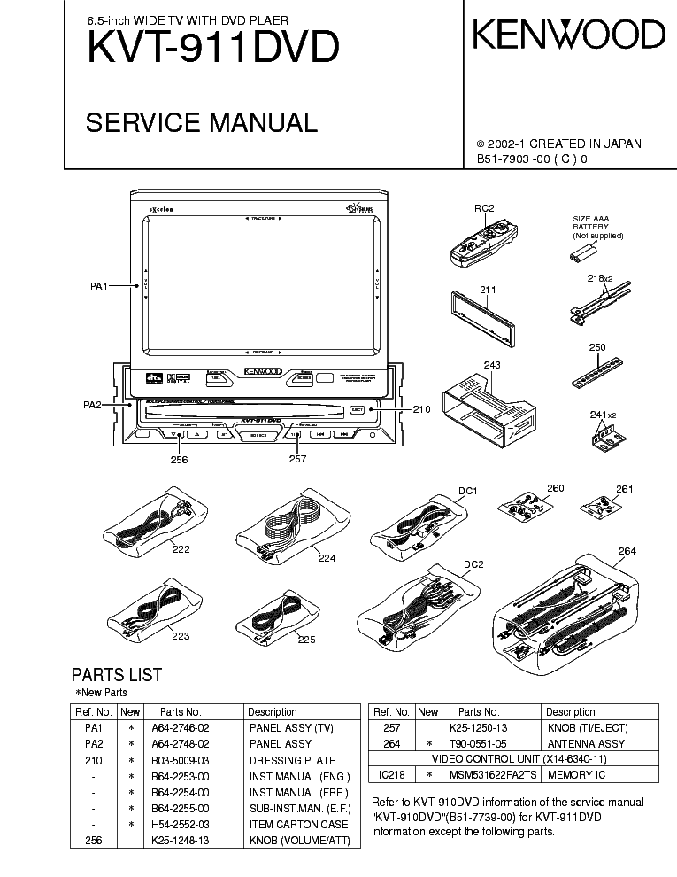 kenwood kvt 719dvd wiring diagram kenwood kvt-911dvd service manual download, schematics ... kenwood kvt 815 wiring diagram #8