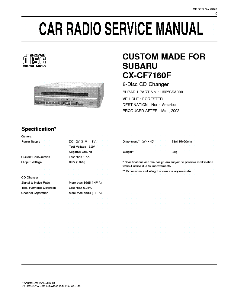 Subaru Forester Service Manual Pdf