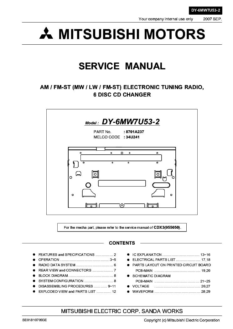 mitsubishi dy 6mw7u53 2 service manual download schematics eeprom rh elektrotanya com Mitsubishi Car Speakers Mitsubishi Car Radio